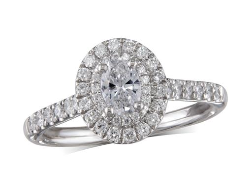 Platinum cluster diamond engagement ring, with a certificated oval cut centre in a four claw setting, with a surrounding double row diamond set bezel. Perfect fit with a wedding ring. Total cluster diamond weight: 0.71ct.