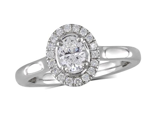 Platinum cluster diamond engagement ring, with a certificated oval cut centre in a four claw setting, with a surrounding diamond set bezel. Perfect fit with a wedding ring. Total cluster diamond weight: 0.60ct.