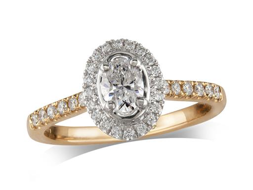 18 carat yellow gold cluster diamond engagement ring, with a certificated oval cut centre in a four claw setting, with a surrounding diamond set bezel and diamond set shoulders. Perfect fit with a wedding ring. Total cluster diamond weight: 0.74ct.