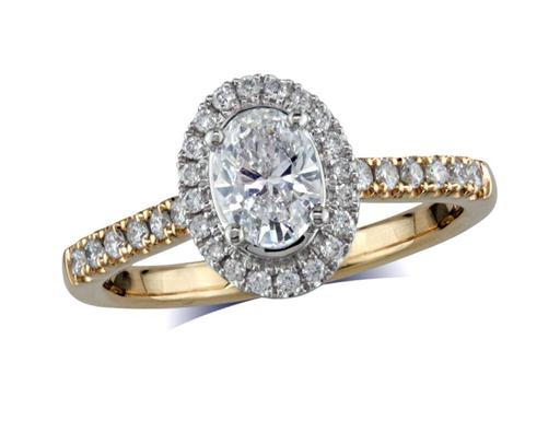18 carat yellow gold cluster diamond engagement ring, with a certificated oval cut centre in a four claw setting, with a surrounding diamond set bezel and diamond set shoulders. Perfect fit with a wedding ring. Total cluster diamond weight: 0.86ct.