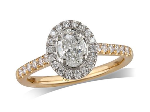 18 carat yellow gold cluster diamond engagement ring, with a certificated oval cut centre in a four claw setting, with a surrounding diamond set bezel and diamond set shoulders. Perfect fit with a wedding ring. Total cluster diamond weight: 0.73ct.