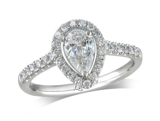 Platinum cluster diamond engagement ring, with a certificated pear cut centre in a three claw setting, with a surrounding diamond set bezel and diamond set shoulders. Perfect fit with a wedding ring. Total cluster diamond weight: 0.85ct.
