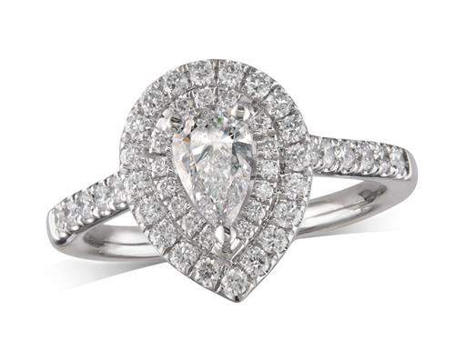 Platinum cluster diamond engagement ring, with a certificated pear cut centre in a three claw setting, with a surrounding double row diamond set bezel and diamond set shoulders. Total cluster diamond weight: 1.04ct.