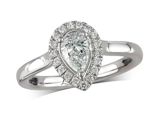 Platinum cluster diamond engagement ring, with a certificated pear cut centre in a three claw setting, with a surrounding diamond set bezel. Perfect fit with a wedding ring. Total cluster diamond weight: 0.67ct.