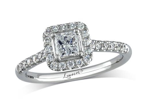 Platinum set diamond cluster engagement ring, with a certificated princess cut centre in a four claw setting, with a surrounding diamond set bezel and diamond set shoulders. Perfect fit with a wedding ring. Total cluster diamond weight: 0.53ct.