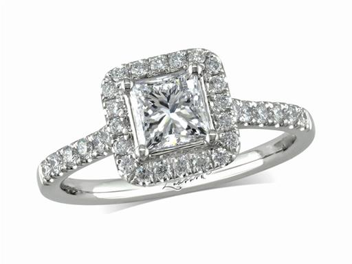 Platinum set diamond cluster engagement ring, with a certificated princess cut centre in a four claw setting, with a surrounding diamond set bezel and diamond set shoulders. Perfect fit with a wedding ring. Total cluster diamond weight: 1.02ct.