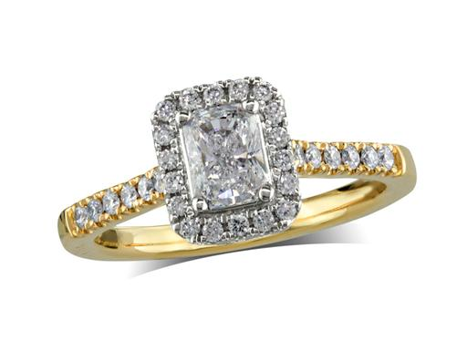 18 carat yellow gold cluster diamond engagement ring, with a certificated radiant cut centre in a four claw setting, with a surrounding diamond set bezel and diamond set shoulders. Perfect fit with a wedding ring. Total cluster diamond weight: 0.78ct.