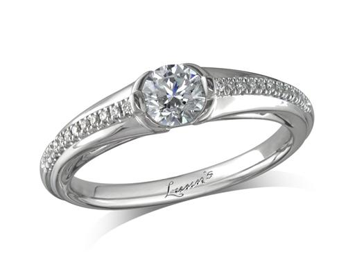 Platinum set single stone diamond engagement ring, with a certificated brilliant cut centre in a semi-rubbed over setting, and diamond set shoulders. Perfect fit with a wedding ring. Total diamond weight: 0.48ct.