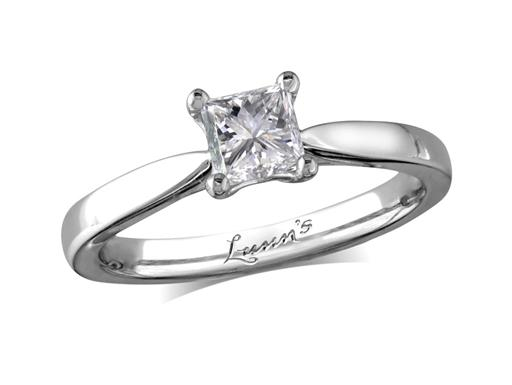 single stone diamond engagement ring, with a certificated princess cut ...