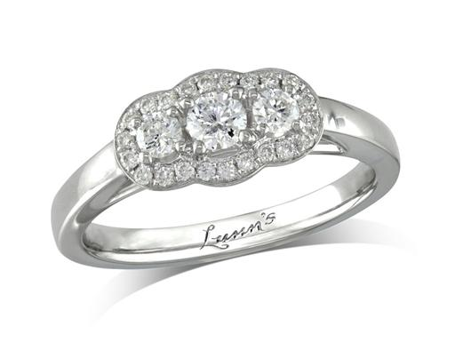 Platinum set three stone diamond engagement ring, with a certificated brilliant cut centre in a four claw setting, and one brilliant cut on each shoulder, with a surrounding diamond set bezel. Perfect fit with a wedding ring. Total diamond weight: 0.42ct.