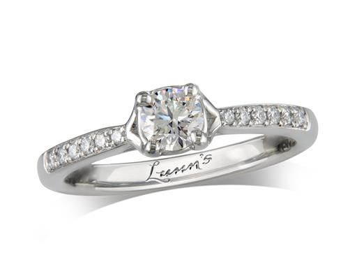 Platinum single stone diamond engagement ring, with a certificated brilliant cut centre in a four claw setting, and diamond set shoulders. Perfect fit with a wedding ring. Total diamond weight: 0.41ct.
