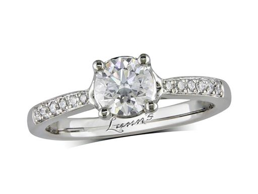 Platinum single stone diamond engagement ring, with a certificated brilliant cut centre in a four claw setting, and diamond set shoulders. Perfect fit with a wedding ring. Total diamond weight: 0.72ct.