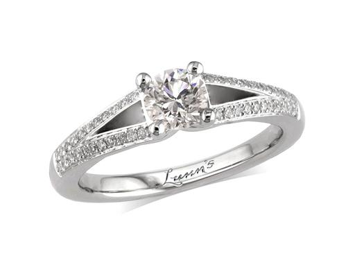 Platinum diamond engagement ring, with a certificated brilliant cut in a four claw setting, surrounded by a diamond set cluster and split shoulders. Perfect fit with a wedding ring. Total diamond weight: 0.65ct.