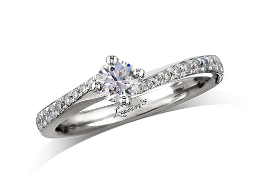 Platinum set single stone diamond engagement ring, with a certificated brilliant cut centre in a four claw setting, and diamond set shoulders. Perfect fit with a wedding ring. Total diamond weight: 0.46ct.