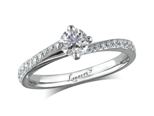 Platinum set single stone diamond engagement ring, with a certificated brilliant cut centre in a four claw setting, and diamond set shoulders. Perfect fit with a wedding ring. Total diamond weight: 0.61ct.
