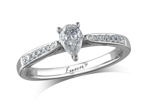 Platinum single stone diamond engagement ring, with a certificated pear cut centre in a three claw setting, and diamond set shoulders. Perfect fit with a wedding ring. Total diamond weight: 0.45ct.