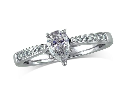 Platinum set single stone diamond engagement ring, with a certificated pear cut centre in a claw setting, and diamond set shoulders. Perfect fit with a wedding ring. Total diamond weight: 0.68ct.