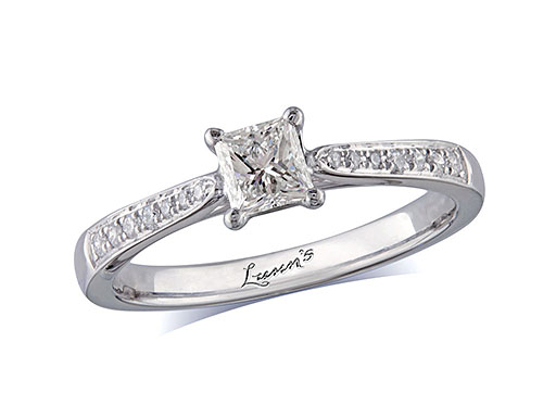 Platinum single stone diamond engagement ring, with a certificated princess cut centre in a four claw setting, and diamond set shoulders. Perfect fit with a wedding ring. Total diamond weight: 0.61ct.