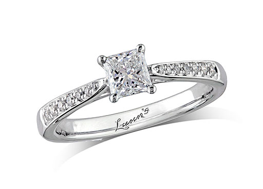 Platinum set single stone diamond engagement ring, with a certificated princess cut centre in a four claw setting, and diamond set shoulders. Perfect fit with a wedding ring. Total diamond weight: 0.61ct.