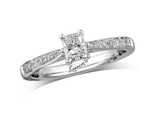 Platinum set single stone diamond engagement ring, with a certificated radiant cut centre in a four claw setting, and diamond set shoulders. Perfect fit with a wedding ring. Total diamond weight: 0.48ct.