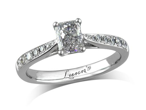 Platinum single stone diamond engagement ring, with a certificated radiant cut centre in a four claw setting, and diamond set shoulders. Perfect fit with a wedding ring. Total diamond weight: 0.90ct.
