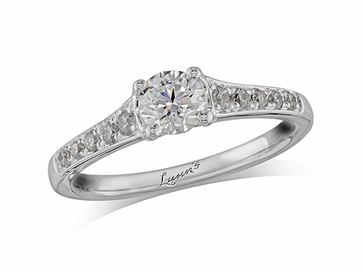 Pre-owned platinum set single stone diamond engagement ring, with a certificated brilliant cut centre in a four claw setting, and diamond set shoulders. Perfect fit with a wedding ring. Total diamond weight: 0.72ct.