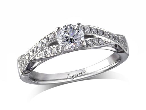 Platinum set single stone diamond engagement ring, with a certificated brilliant cut centre in a four claw setting, and diamond set shoulders. Perfect fit with a wedding ring. Total diamond weight: 0.58ct.