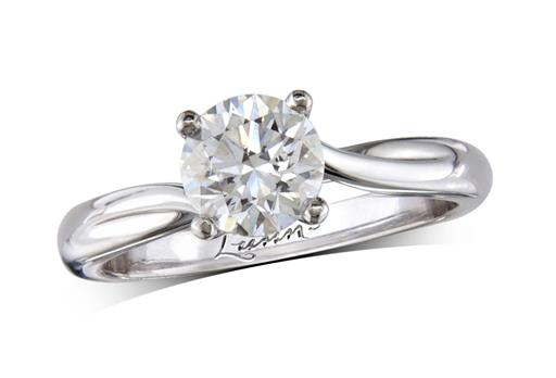 Platinum four claw single stone diamond engagement ring, with a certificated brilliant cut, incorporating a beautiful diamond collar under the principal stone. Perfect fit with a wedding ring.
