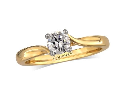 18 carat yellow gold single stone diamond engagement ring, with a certificated brilliant cut, in a four claw setting, featuring artistic diamond detail on the bridge of the setting. Perfect fit with a wedding ring.