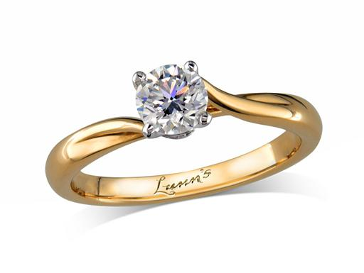 18 carat yellow gold single stone diamond engagement ring, with a certificated brilliant cut, incorporating a beautiful diamond collar under the principal stone. Perfect fit with a wedding ring.