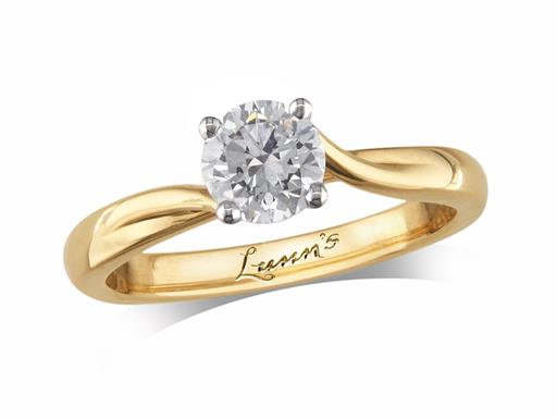18 carat yellow gold four claw single stone diamond engagement ring, with a certificated brilliant cut, incorporating a beautiful diamond collar under the principal stone. Perfect fit with a wedding ring.