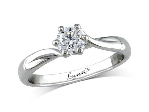 Platinum six claw single stone diamond engagement ring, with a certificated brilliant cut, incorporating a beautiful diamond collar under the principal stone. Perfect fit with a wedding ring.