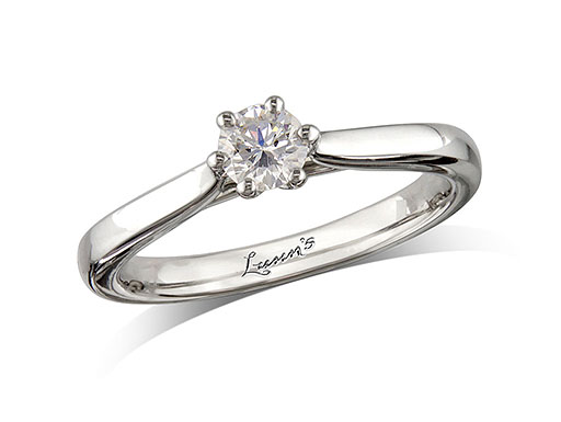 Platinum single stone diamond engagement ring, with a certificated brilliant cut, in a six claw setting. Perfect fit with a wedding ring.