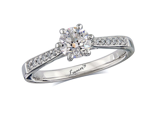 Platinum single stone diamond engagement ring, with a certificated brilliant cut centre in a six claw setting, and diamond set shoulders. Perfect fit with a wedding ring. Total diamond weight: 0.80ct.