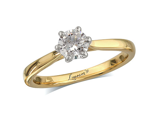 18 carat yellow gold set single stone diamond engagement ring, with a certificated brilliant cut, in a six claw setting. Perfect fit with a wedding ring.