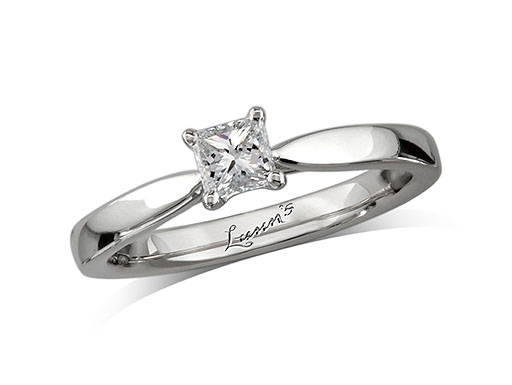 Platinum set single stone diamond engagement ring, with a certificated radiant cut, in a four claw setting.
