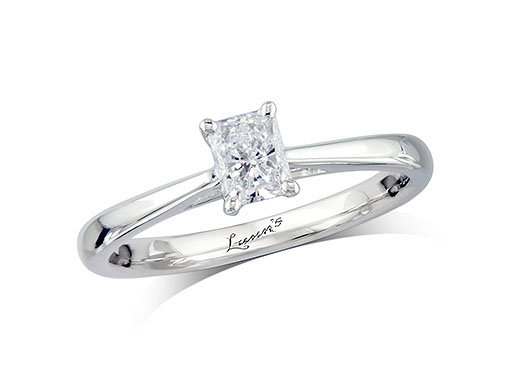 Platinum single stone diamond engagement ring, with a certificated radiant cut, in a four claw setting. Perfect fit with a wedding ring.