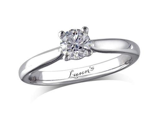 Portfolio Classic Collection platinum set single stone diamond engagement ring, with a certificated brilliant cut, in a four claw setting. Perfect fit with a wedding ring.