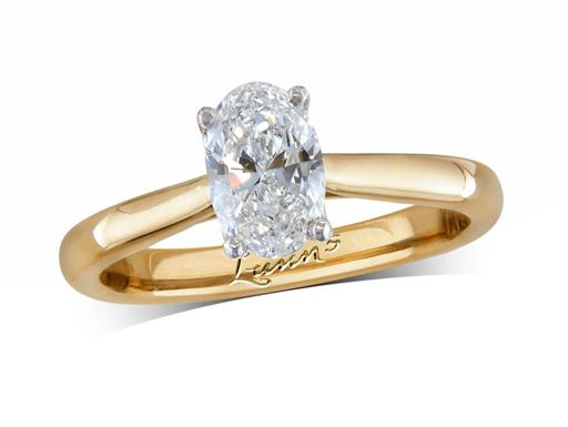 18 carat yellow gold single stone diamond engagement ring, with a certificated oval cut, in a four claw setting. Perfect fit with a wedding ring.