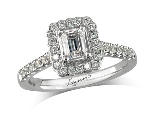 Platinum set diamond cluster engagement ring, with a certificated emerald cut centre in a four claw setting, with a surrounding diamond set bezel and diamond set shoulders. Perfect fit with a wedding ring. Total cluster diamond weight: 0.82ct.