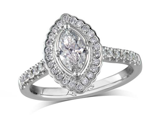 Platinum cluster diamond engagement ring, with a certificated marquise cut centre in a four claw setting, with a surrounding diamond set bezel and diamond set shoulders. Perfect fit with a wedding ring. Total cluster diamond weight: 0.88ct.