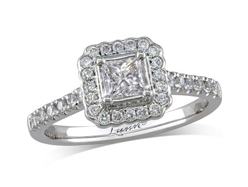 Platinum set diamond cluster engagement ring, with a certificated princess cut centre in a four claw setting, with a surrounding diamond set bezel and diamond set shoulders. Perfect fit with a wedding ring. Total cluster diamond weight: 0.73ct.