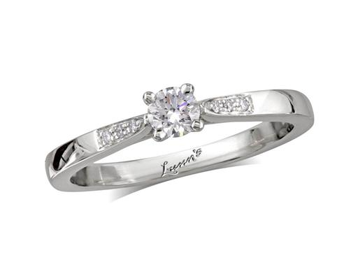 Platinum set single stone diamond engagement ring, with a certificated brilliant cut centre in a four claw setting, and diamond set shoulders. Perfect fit with a wedding ring. Total diamond weight: 0.23ct.