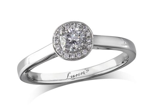 Platinum diamond cluster engagement ring, with a certificated brilliant cut centre in a four claw setting, with a surrounding diamond set bezel. Perfect fit with a wedding ring. Total cluster diamond weight: 0.25ct.