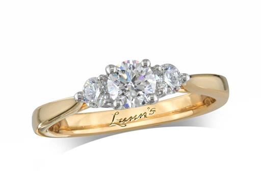 18 carat yellow gold three stone diamond engagement ring, with a certificated brilliant cut centre in a four claw setting, and one brilliant cut on each shoulder. Perfect fit with a wedding ring. Total diamond weight: 0.63ct.