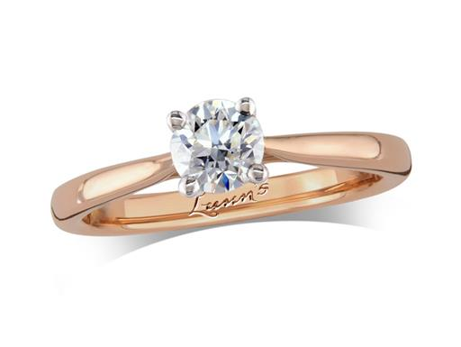 18 carat rose gold single stone diamond engagement ring, with a certificated brilliant cut, in a four claw setting. Perfect fit with a wedding ring.