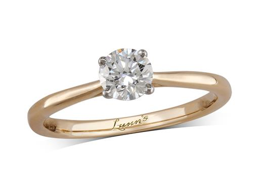 18 carat yellow gold single stone diamond engagement ring, with a certificated brilliant cut, in a four claw setting. Perfect fit with a wedding ring.