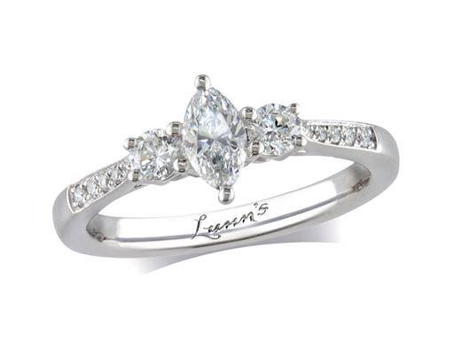 Platinum three stone diamond engagement ring, with a certificated marquise cut centre in a claw setting, and one brilliant cut on each side with diamond set shoulders. Perfect fit with a wedding ring. Total diamond weight: 0.59ct.