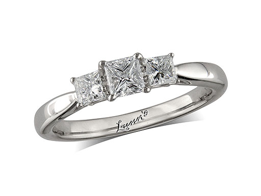 Platinum set three stone diamond engagement ring, with a certificated princess cut centre in a four claw setting, and one princess cut on each shoulder. Perfect fit with a wedding ring. Total diamond weight: 0.60ct.