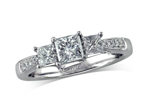 Platinum three stone diamond engagement ring, with a certificated princess cut centre in a four claw setting, and one princess cut on each side with diamond set shoulders. Perfect fit with a wedding ring. Total diamond weight: 0.90ct.